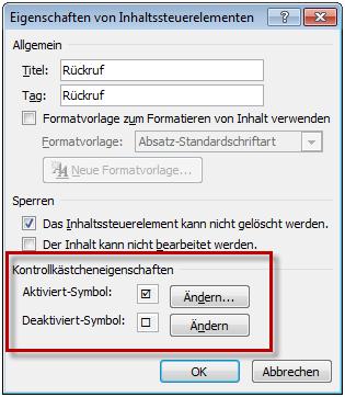 kontrollkästchen für formulare in word 2010 endlich wieder