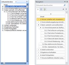 Dokumentstruktur bis Word 2007 und in Word 2010
