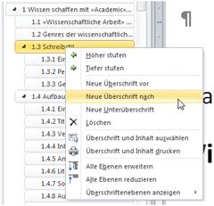 Dokumentstruktur anpassen in Word 2010 über das Kontextmenü