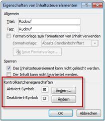 Formatierung für das Kontrollkästchen-Inhaltssteuerelement in Word 2010
