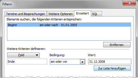 Outlook 2010: Filterkriterien für eine eigene Ansicht definieren