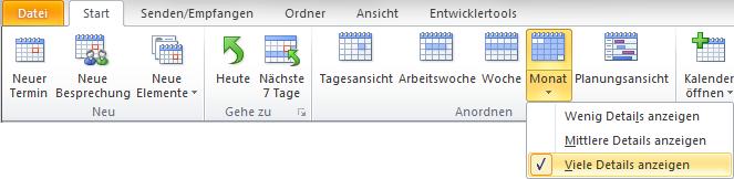 In Outlook 2010 Monatsansicht mit vielen Details