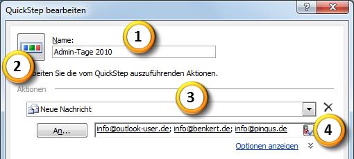 Outlook 2010 Einen neuen QuickStep anlegen Teil 1