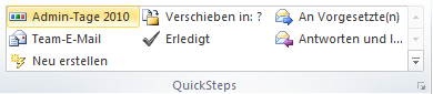 Outlook 2010 Kurzer Name für QuickStep