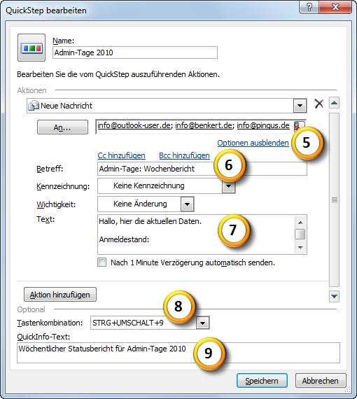 Outlook 2010 Einen neuen QuickStep anlegen Teil 2