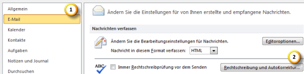 AutoKorrektur-Einstellungen in Outlook 2010 optimieren Teil 1