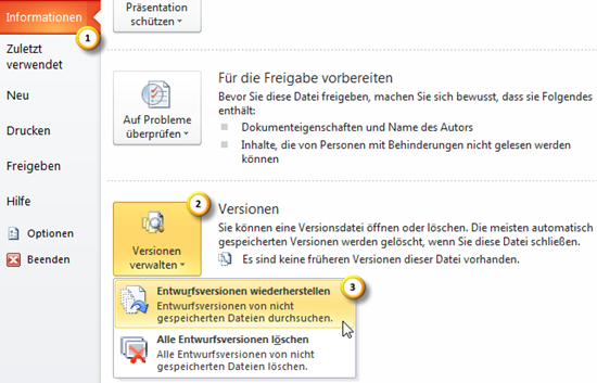 Versionen verwalten in PowerPoint 2010 (Beta)