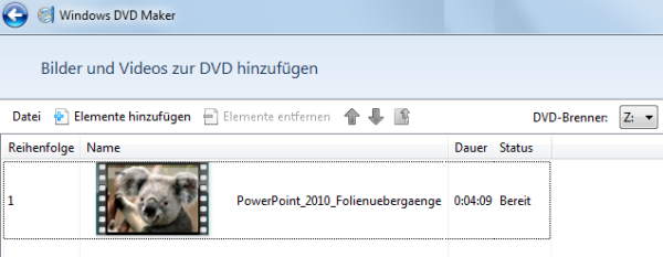 Windows DVD Maker Schritt 2