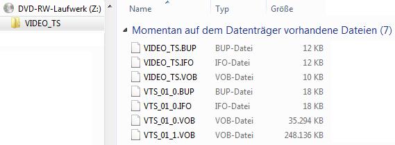 Ordner und Dateien der fertigen DVD
