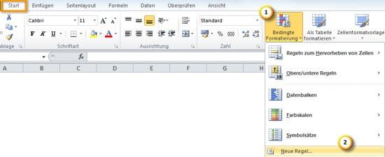 Excel 2010: Bedingte Formatierung aufrufen
