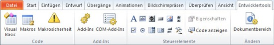 Entwicklertools in PowerPoint 2010