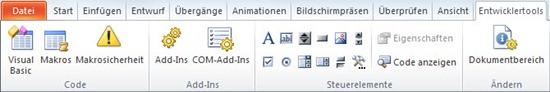 Entwicklertools in PowerPoint 2010