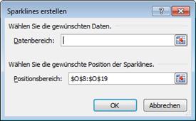 Excel 2010: Dialogfeld Sparklines erstellen