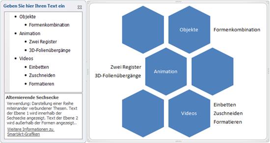 PowerPoint 2010: SmartArt Alternierende Sechsecke in Rohfassung