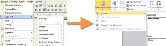 AutoTexte in Word 2003 und Word 2007/2010
