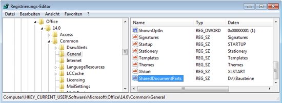 "Word 2010: In der Registry ""SharedDocumentParts"" anlegen"