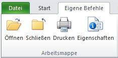 Excel 2010: Menüband mit eigener Registerkarte