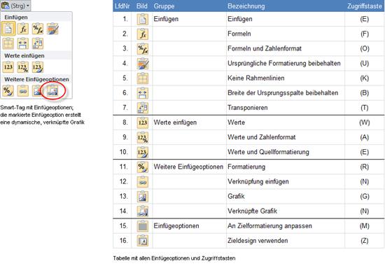 Excel 2010: Smart-Tag und Einfügeoptionen