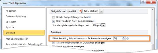 Liste Zuletzt verwendet in Office 2010: Anzahl der Dateien erhöhen