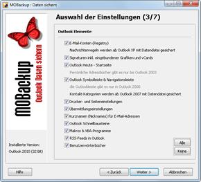 Outlook 2010: Das kann MOBackup sichern Teil 1