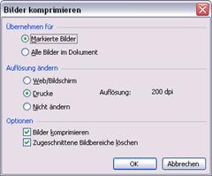 Office 2003: Dialogfeld Bilder komprimieren