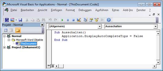 Word 2010: Im VBA-Editor die AutoAusfüllen-Funktion deaktivieren