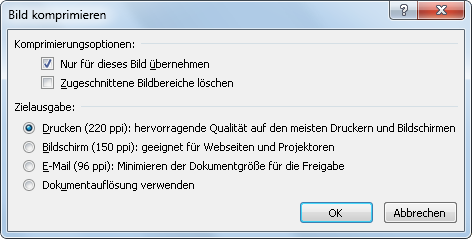 Outlook 2010: Einstellung für Bild komprimieren nach dem Einfügen