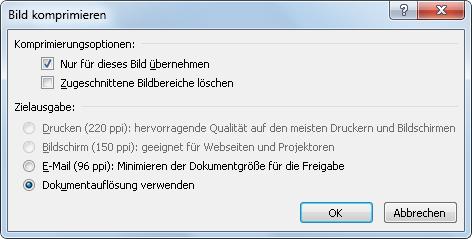 Outlook 2010: Einstellung für Bild komprimieren nach Klick auf Senden