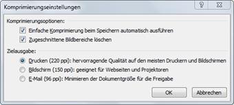 Office 2007: Dialogfeld Komprimierungseinstellungen
