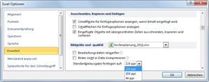 Excel 2010: Optionen für Bildkompimierung einstellen