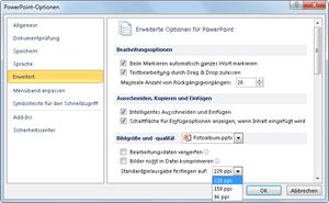 PowerPoint 2010: Optionen für Bildkompimierung einstellen