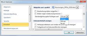 Word 2010: Optionen für Bildkompimierung einstellen