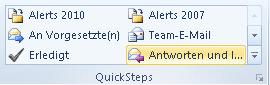 """Outlook 2010: Vorgefertigten QuickStep """"Antworten und löschen"""" im Menüband aufrufen"""