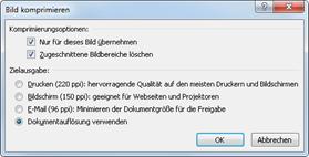 Office 2010: Bildkomprimierung bis 220 ppi
