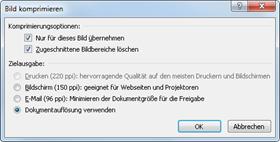 Office 2010: Bildkomprimierung bis 150 ppi