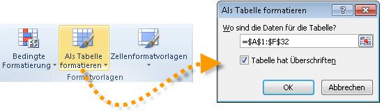 Excel 2010: Als Tabelle formatieren