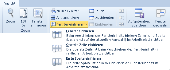 Excel 2010: Der Befehl Fenster einfrieren auf der Registerkarte Ansicht