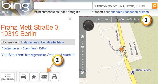 Outlook 2010: Mit nur einem Klick zur bing-Karte