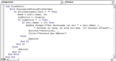Word 2010: Die VBA-Routine zum Begrenzen der Länge des Dateinamenvorschlags