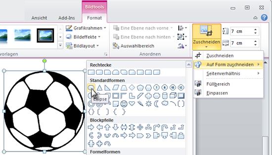 PowerPoint 2010: Eckiges Bild auf runde Form zuschneiden