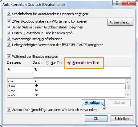 Word 2010: Den AutoKorrektur-Eintrag anlegen