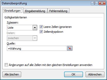 Excel 2010: Das Dialogfeld für die Datenüberprüfung