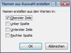 """Excel 2010: das Dialogfeld """"Namen aus Auswahl erstellen"""""""