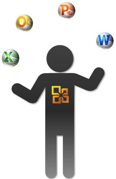 Der fertig gestellte Jongleur mit Bällen und Office-Logo