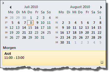 Outlook 2010: Zunächst werden nur zwei Monate angezeigt