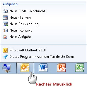 "Outlook 2010: Die ""normale"" Sprungliste"