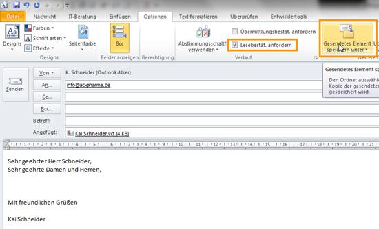 Outlook 2010: Eine E-Mail-Vorlage definieren und Optionen einstellen