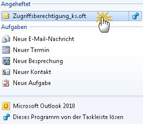 Outlook 2010: Vorlage per Jump List aufrufen
