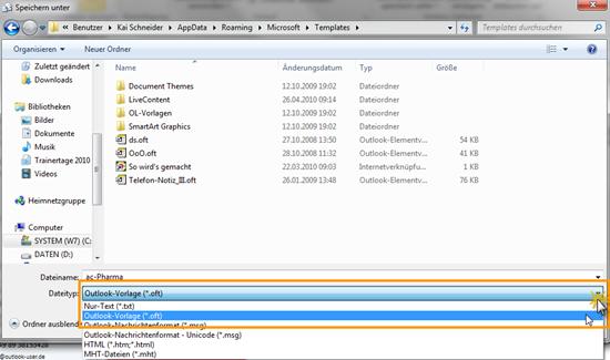 Outlook 2010: E-Mail als Vorlage (OFT) speichern