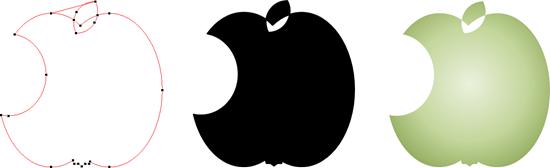 Der entstandene angebissene Apfel kann beliebig formatiert und gestaltet werden